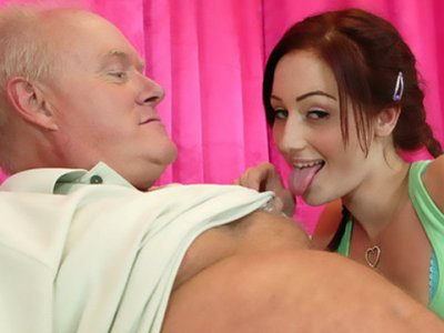 Tender looking redhead slut goes on the park-prowl of old dick.
