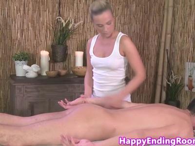 Classy models ass gets cumshot at massage
