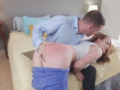 Brunette Leigh got a swollen pussy after being banged hard
