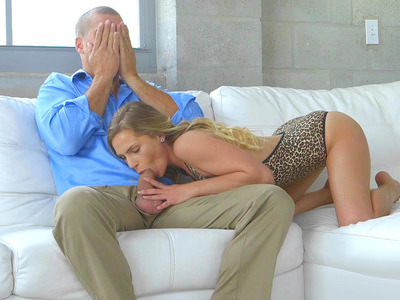 Sydney Cole got caught by her stepmom Cassandra Cain, sucking Ramon's dick