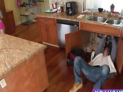 Brunette teen riding sucking plumber long rod