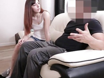 Teen webcam girl Ember fucks dad's huge cock