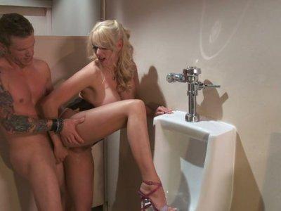 Blonde milf Stormy Daniels fucks and eats cum in the men's rest room