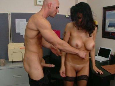 Horny MILF slut Shay Sights fucks at the working desk