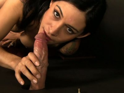 Sensuous brunette Raylene with zesty curves blows dick in the confession room
