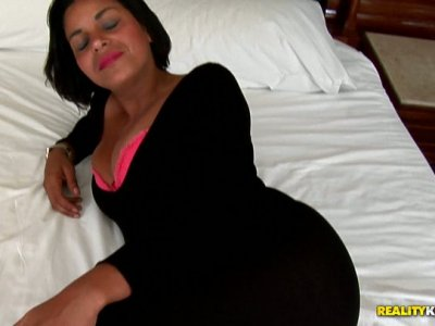 Aphrodisiac Latina mom Ana Luz shows off her curvaceous body and then blows a hard dick deepthroat