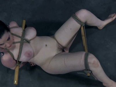 Submissive buxom chick Sybil Hawthorne gets a wooden stick in her mouth