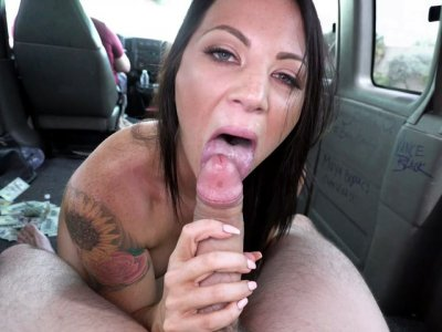 Audrey Miles is sucking the big cock in the bus