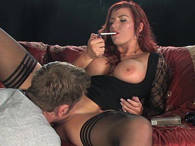 Big titted Milf smoking while fucking