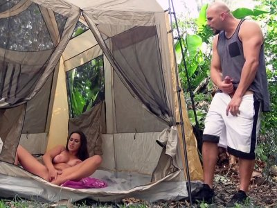 Ashley Adams playing with her pussy in the tent
