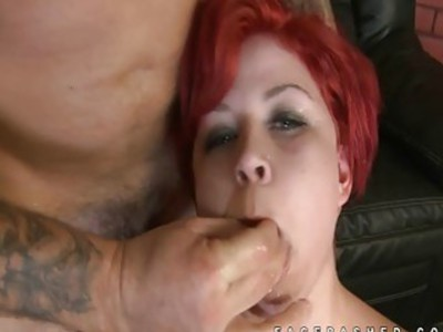 Redhead floppy tits girl mouth fuck