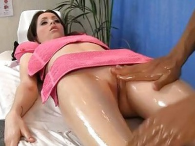 Oil massage porn with sexy brunette babe