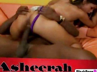 Busty ebony babe gets pussy filled by schlong