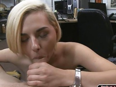Horny blondie babe dealing with a meaty cock for good price