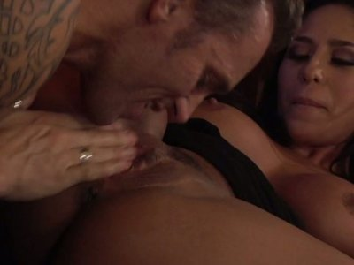 Irresistible brunette beauty Jenaveve Jolie gets her pussy munched and fucked