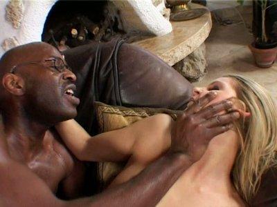 Skinny blonde babe Liz Honey gets her asshole gaped by black man