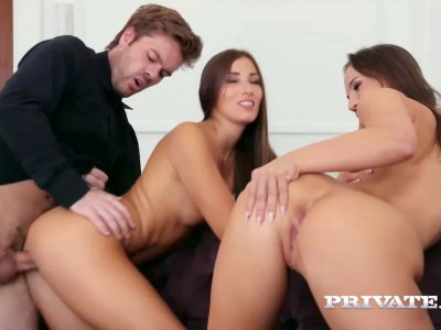 Euro anal trio with two young promising artists