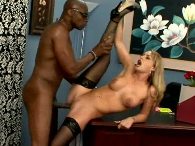 Classic blonde milf Aline blows big black cock and gets her pussy licked