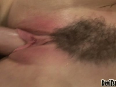 The hairy pussy of slutty and horn-mad Ray Veness gets polished