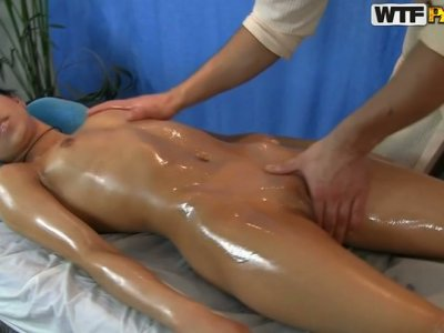 All oil covered chick with splendid butt gets her wet pussy stimulated