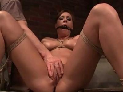 Hot busty beauty getting bondaged and punished
