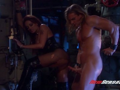 Dirty hooker in ripped pantyhose is fucked by hot blooded long haired vampire