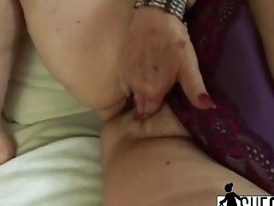 This granny is 60 but she doesn't mind fucking with younger boy