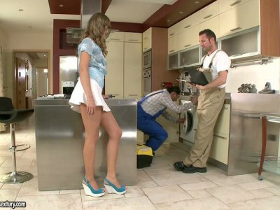 Too voluptuous Lessika Lux pleases two strong cocks of the plumbers