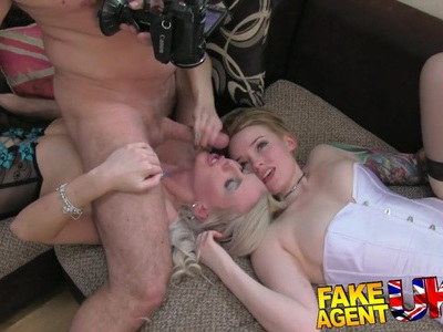 FakeAgentUK 2 hot blonde friends lez up then fuck agent