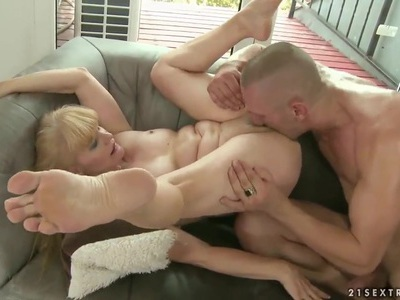 Old hag Lenia is having a good fuck with a young boy and his dick