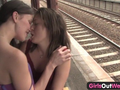 Girls Out West - Hairy n shaved lesbians at the station