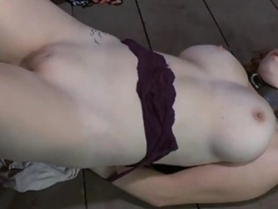 Girl acquires hardcore clamping for her huge racks