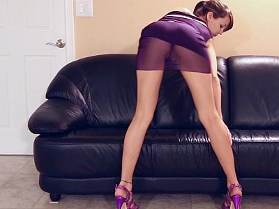 Cheerful couch seductress