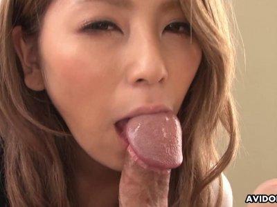 Handsome brunette Sakura Kiryu sucks a big hairy f