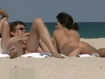 Public beach nudist blonde voyeur video