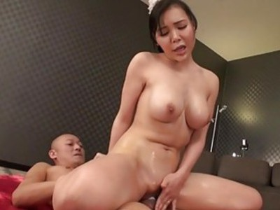 Asian chick with boobs toys her bawdy cleft
