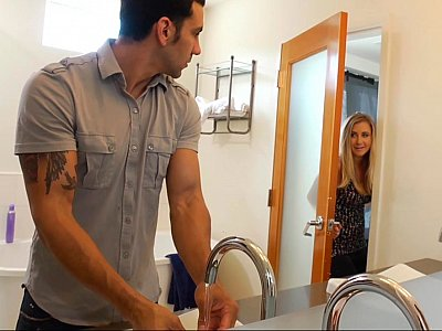 Horny girlfriend can't resist disturbing him