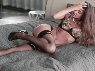 Euro babe Maria uses a vibrator to make herself cum