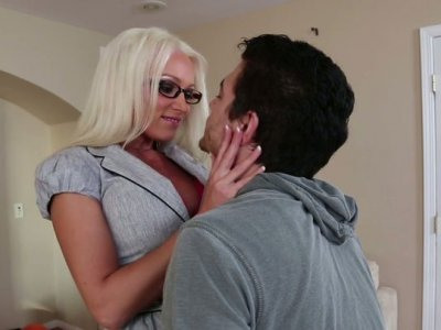 Seductive teacher Diana Doll seduces her student and greedily sucks his cock