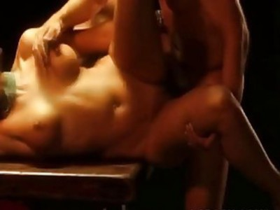 Stud smashes submissive brunette hottie in dungeon