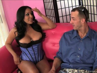 Whorish Kiara Mia licks the balls and ass of horny Chris Strokes