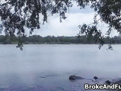 Pounding broke bigtit teen by river