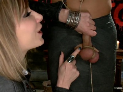Three bitches dominate a guy without any mercy