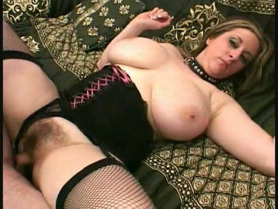 Busty blonde milf Kitty with hairy pussy getting pounded by two men