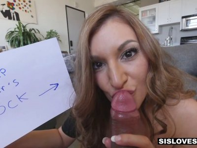 Two brothers tag team their stunning hot stepsister