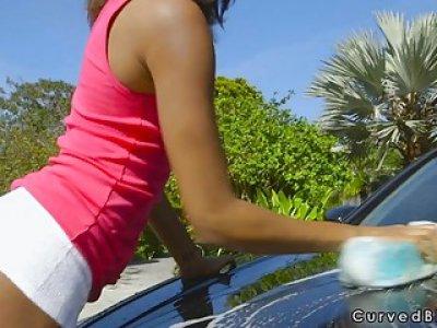 Ebony girlfriend washing car nude
