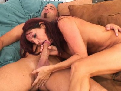 Redhead slut Tara Holiday riding cock and getting thrusted from behind