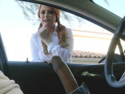 Waitress Penny Pax sucking Keiran in the car