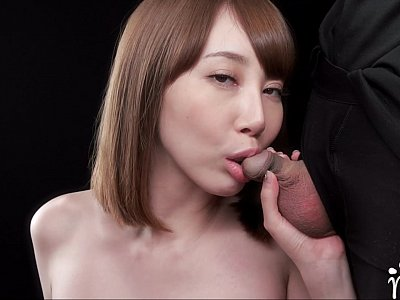 Japanese girl getting a taste of his cum in her mouth