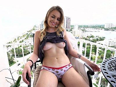 Blonde banged on the balcony